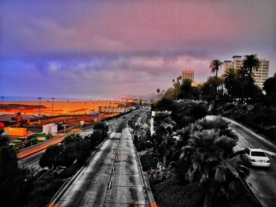 Over Santa Monica pier