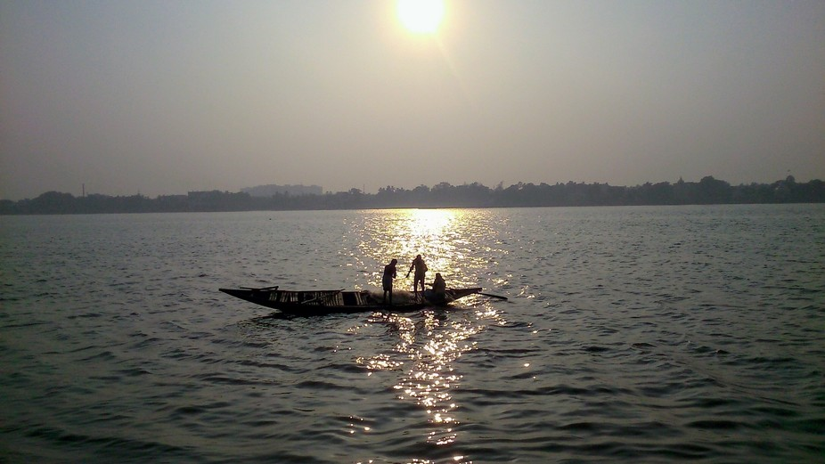 Fishing at Ganga in the winter afternoon