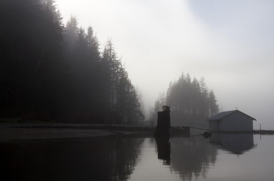 A beautiful grey day at Buntzen Lake in Anmore, British Columbia