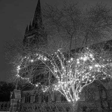 Lights decorate a tree outside St Mary's Church, Handbridge, Chester.