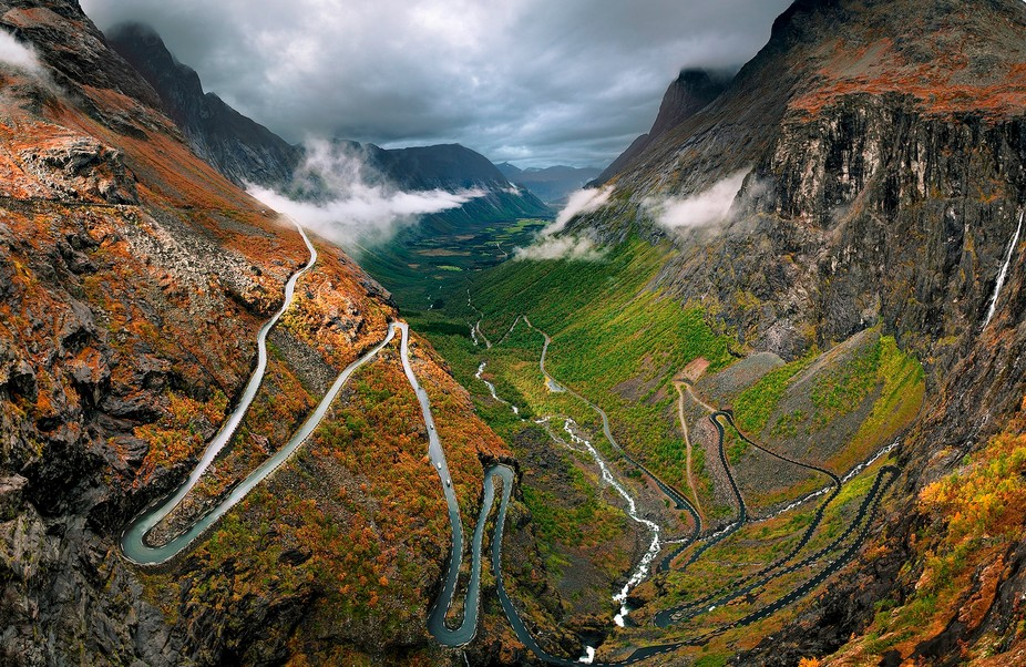The famous trollstigen road in Norway