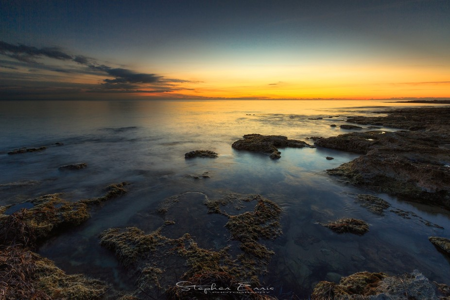 Sunset along the Paphos coastline in Cyprus