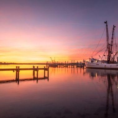 Sunset along the Crystal Coast in Swansboro North Carolina