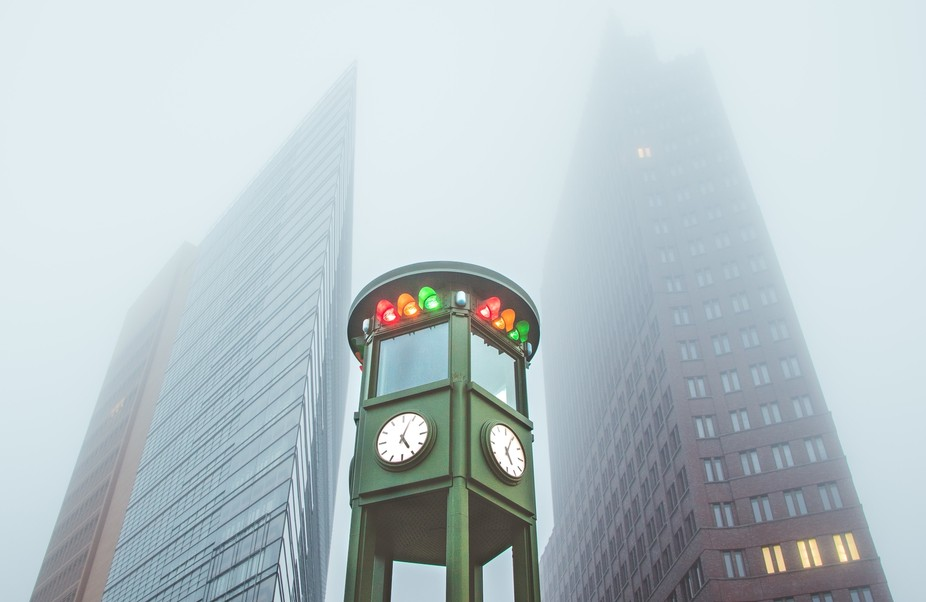 "Replica of Germany's ""kinda first"" traffic lights at Potsdamer Platz. P.S. All the l..."