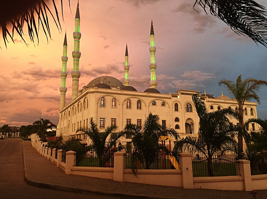 Sunset at the Nizamiye Turkish Mosque in South Africa