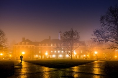 The Illini Union. A foggy evening at the University of Illinois, Urbana-Champaign