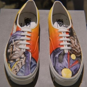 custom hand painted shoes dedicated to Native American preservation.