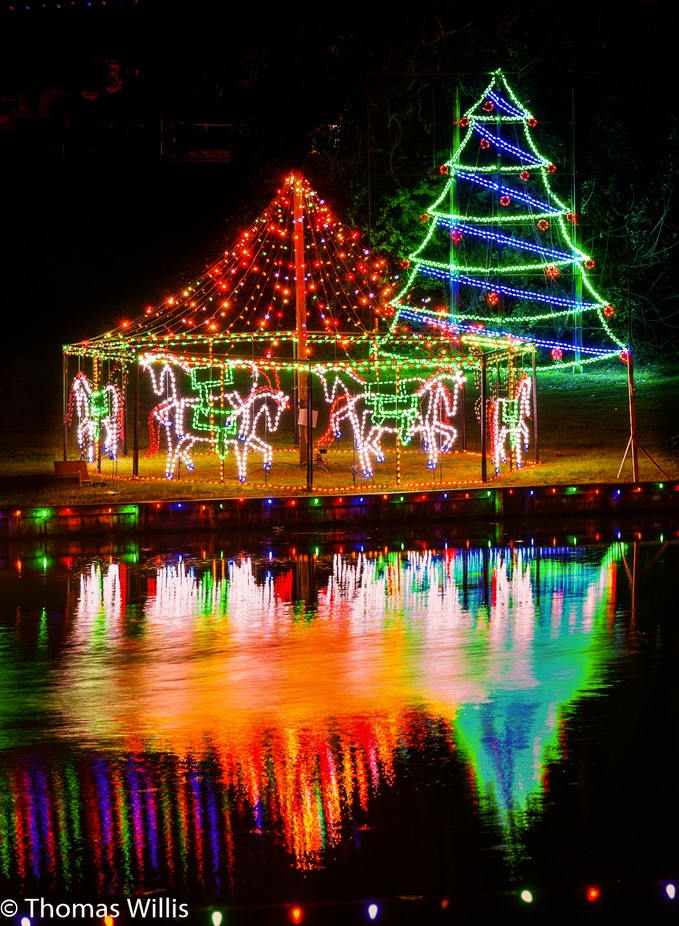 Lights by the Cane River in Natchitoches, Lousiana, USA.