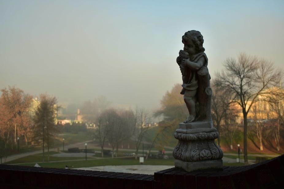 Musician petrified like petrified city in the fog