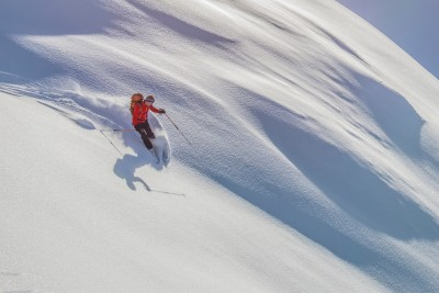 Perfect powder descending the north-west face of Monte Sief