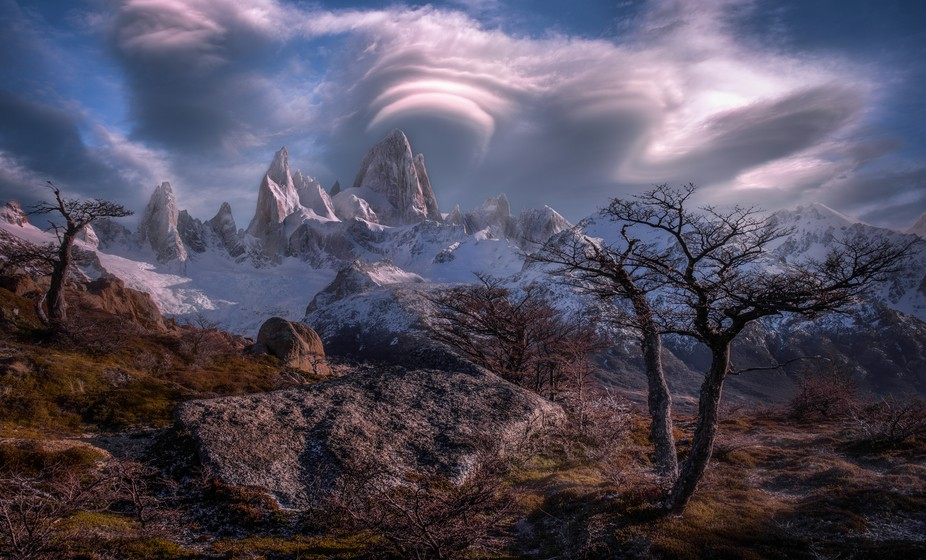 Lenticular cloud formations over the beautiful Fitz Roy Massif in Patagonia, near El Chalten in A...