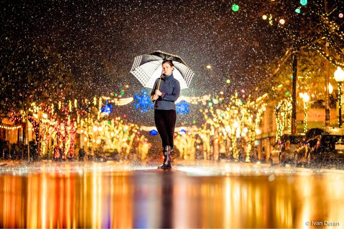 Out in the rain  by ivanduran - Holiday Lights Photo Contest 2017