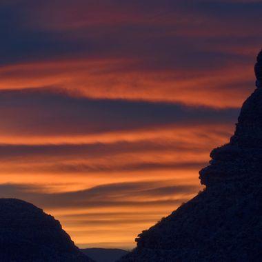 View of Clouds at Sunset while driving through the Virgin River Gorge between St. George , Utah and Beaver Dam, Arizona toward Las Vegas.