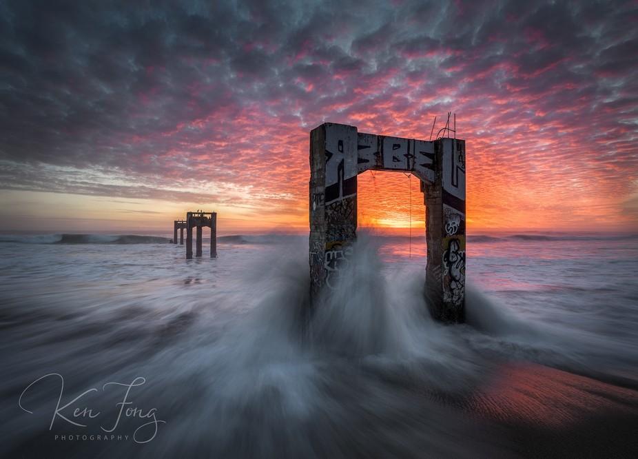 Abandoned Pier at Davenport Beach