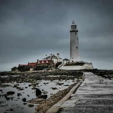 St Mary's Lighthouse. Tidal Access Pathway, Whitley Bay, England,