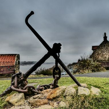 Anchor at St Mary's Lighthouse.  Whitley Bay, England,