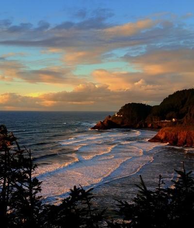 Clouds, Sea and Lighthouse on Oregon Coast