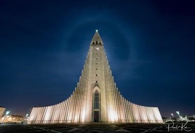 Hallgrímskirkja church + Supermoon