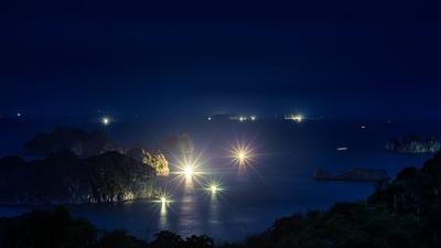 Vietnam night. Shrimp trawlers.