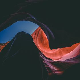 Looking Towards the Sky From Lower Antelope Canyon in the Desert of Arizona