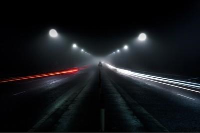 Car light trails on the Foyle Bridge