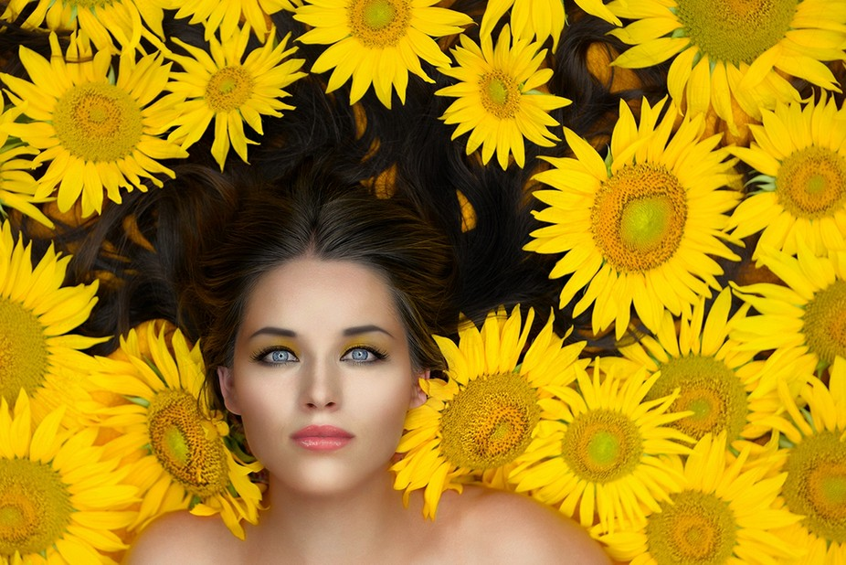 Sunflowers and she