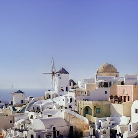 The beautiful terraced houses and windmills of Santorini. Cyclades, Greece.  I shot this photo at f/2,8 and ¹⁄₆₄₀₀ s with my Nikon D3S...