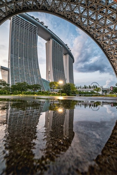 Reflection of Marina Bay Sands in Singapore.