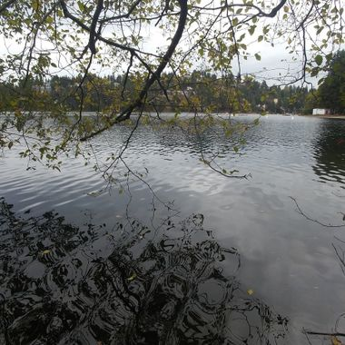 A view of Long Lake iin Nanaimo, B.C. on Vancouver Island - 2017 October 22