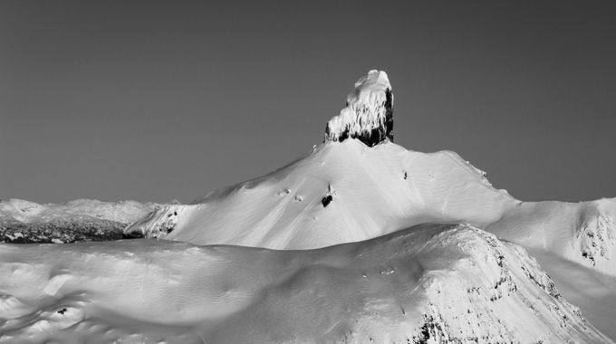 The Black Tusk, an old stratovolcano located in southwestern BC near Vancouver. The Tusk itself is the core of volcano which stands tall in Garibaldi Provincial Park. This picture was taken on 14th January 2018 with snow covering the tusk during the winter months.