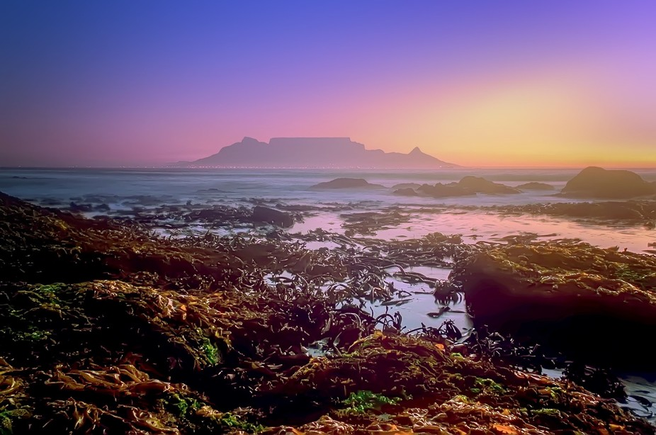 Table mountain sunset on a misty day