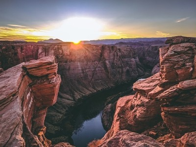 A Different View of Sunset at Horseshoe Bend Near Glen Canyon in Arizona