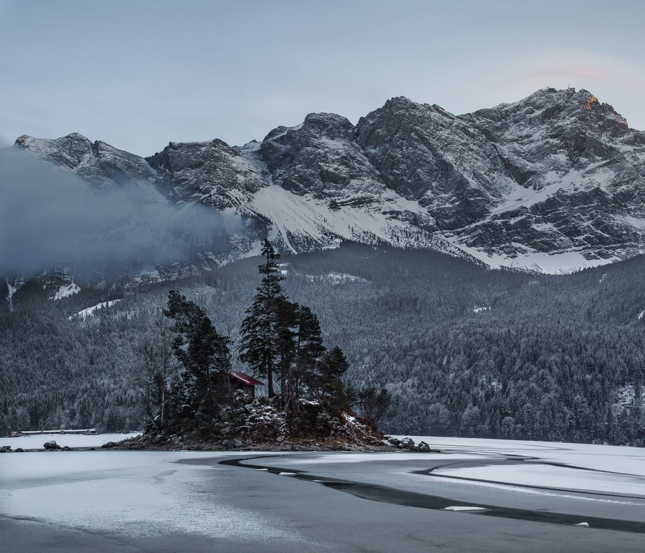 Stitched Long exposure shot from the Eibsee Lake