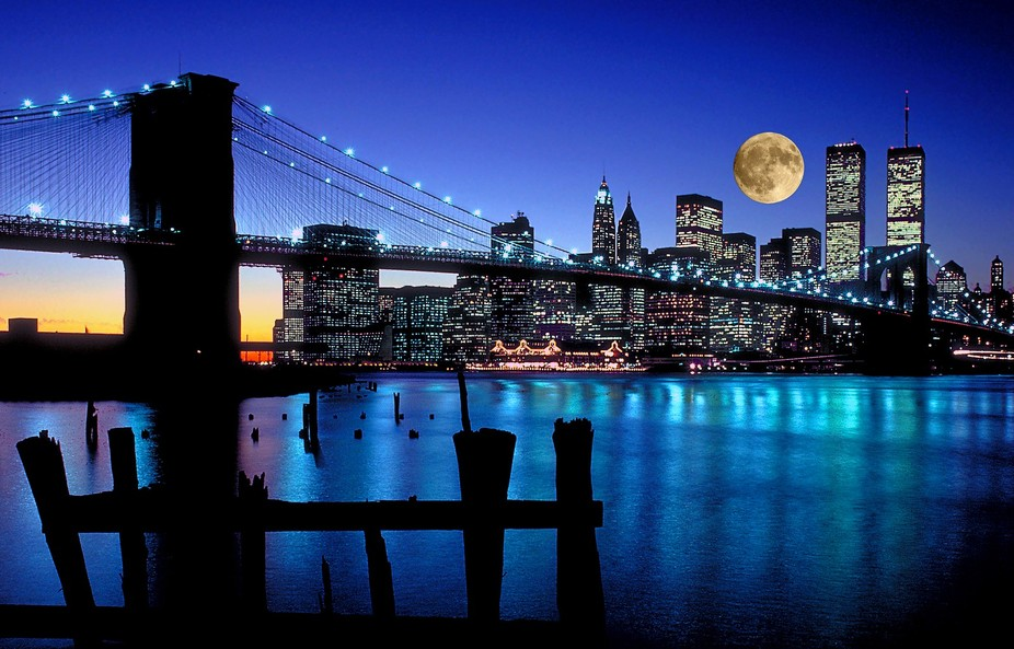 Brooklyn Bridge at Dusk Full Moon