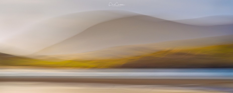 Intentional camera movement was used to create this abstract at Luskentyre on the Isle of Harris