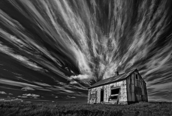 Cabin (bw)  by Structor - Abandoned Photo Contest