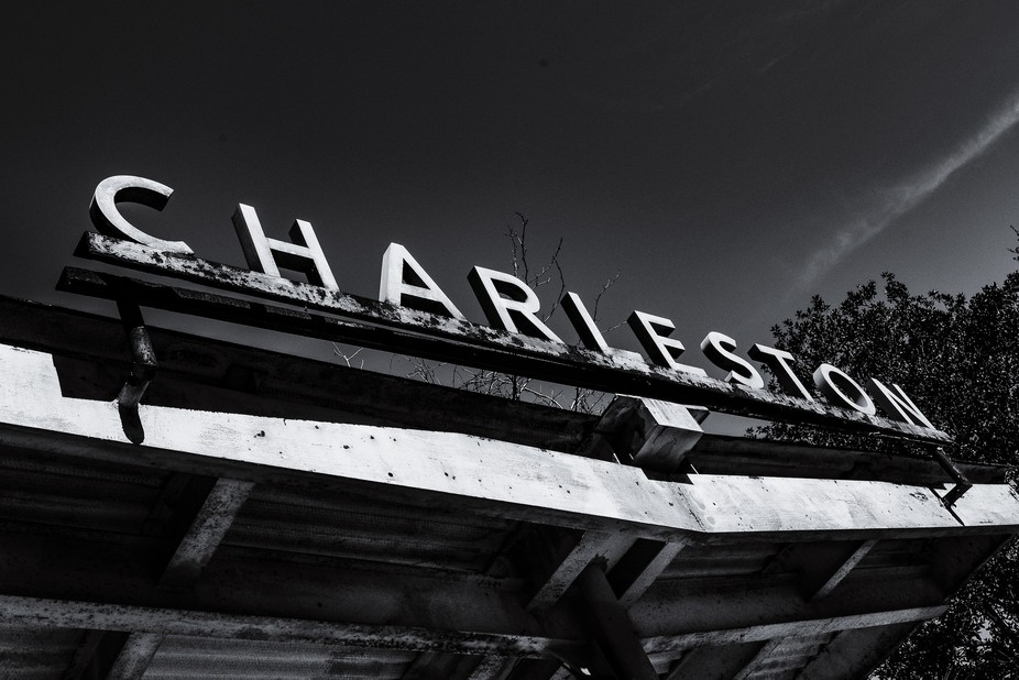 The sign from the old Charleston Train Station sadly being torn down in the coming days to make r...