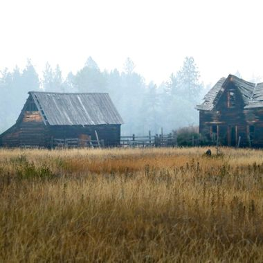An old homestead near Merritt on a smokey day. The smoke is from the forest fires to the north.