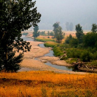The Nicola River looking pretty low and reflecting the color of the smoke from the fires