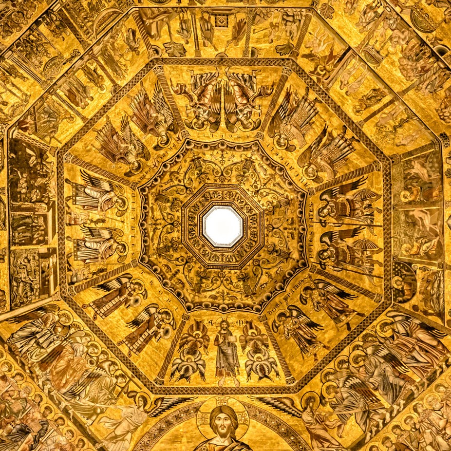 The beautiful roof of the Baptesterium, in Florence, Italy