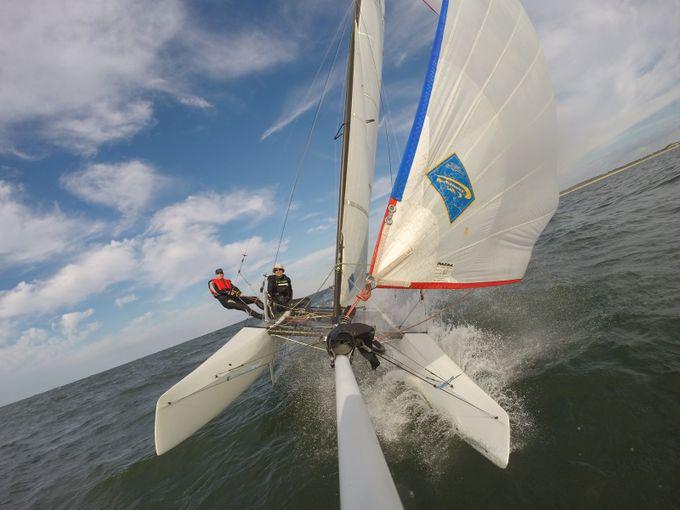 Sailing a F16 catamaran on the North Sea.  20160918 12707_1