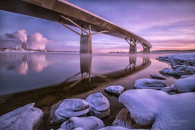 Evening at Sundsvall bridge by urbanrundblom - The Cold Winter Photo Contest