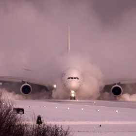 A winter storm had just tapered off in Toronto and the runway had been cleared after 40 minutes of effort - the first plane to land in the settin...