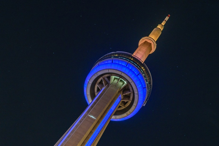 The colours of Toronto's Humber College, adorn the tower celebrating their 50th annivers...