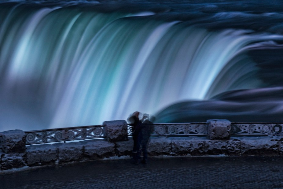 This couple were at the edge taking selfies during my long exposure!