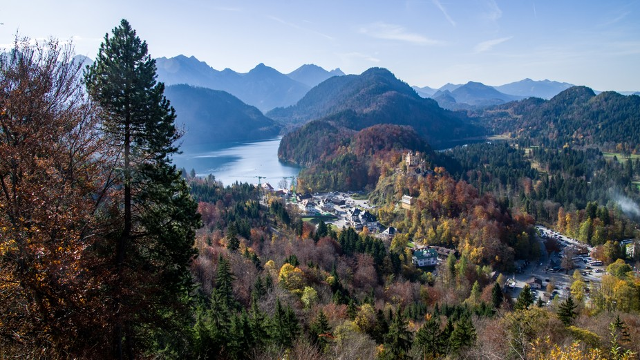 Autumn in Germany, with a view of the alps, and the valley below Schloss Neuschwanstein.