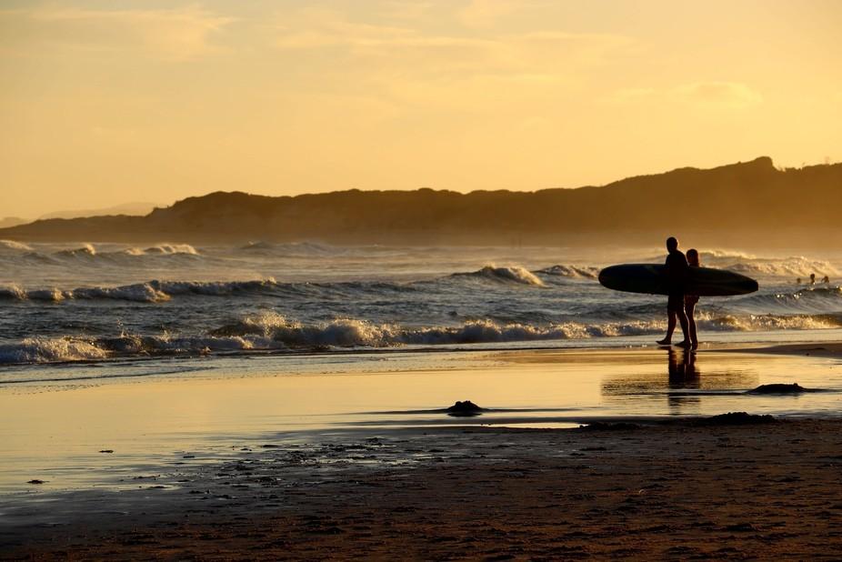 Aussie beach at sunset