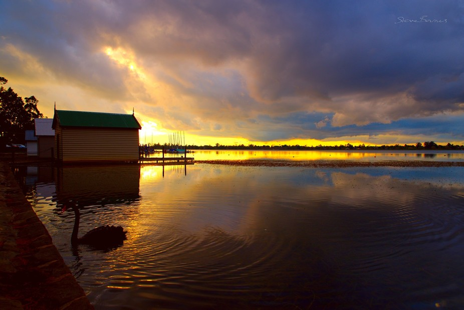 Lake Wendouree at sunset, across the lake I can see colours glowing true; the gold and blue glow in the sky and reflect in the water making a beautiful scene.   Lake Wendouree, Ballarat, Victoria, Australia    K1SB0882