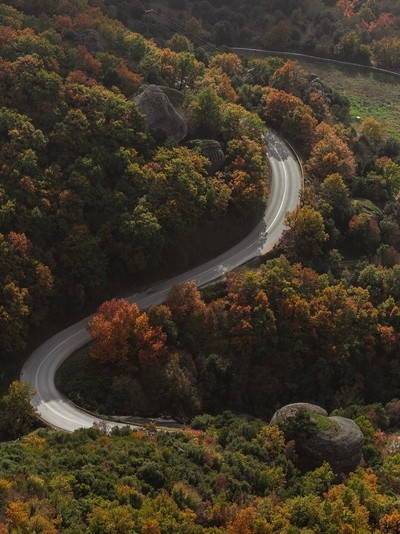 Curvy roads up to a greek monastery