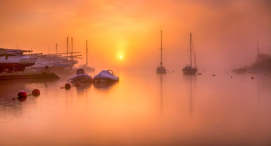 Sunrise captured on the river stour in Dorset on a misty morning, a 6 second long exposure.